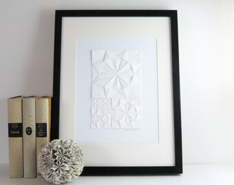 Origami Sketch No2 White - Original Paper Collage Art Geometric Art Minimalist Art - Modern Home Decor - White Circles - Paper Anniversary