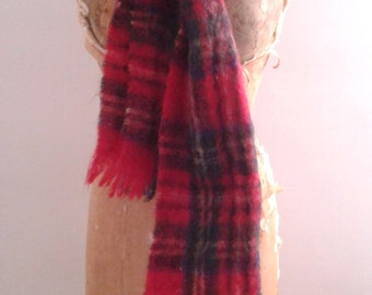 Vintage 1950's Mohair Pile Scotch Red Tartan Plaid Winter Scarf Traditional Rustic
