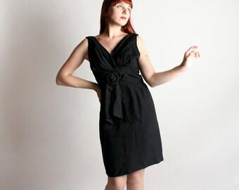 Vintage 1960s Little Black Dress - Bombshell Classic Black Wiggle Dress - Wrap Style Bodice - Medium Large