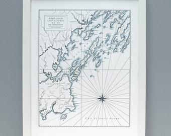 Portland Maine, Letterpress Map Art Print, Navy Blue