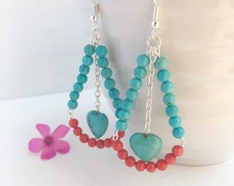 Statement Turquoise Earrings, Coral Earrings, Clip On Earrings, Bold Earrings, Gift For Her, December Birthstone, December Birthday, Summer