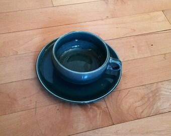 Vintage Russel Wright Steubenville Tea Cup and Saucer Sea Foam Green Glaze American Modern