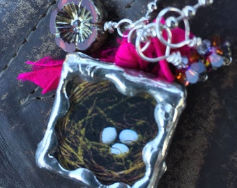 LOVE/NEST Double Sided Soldered Charm Necklace by Susan A Ray