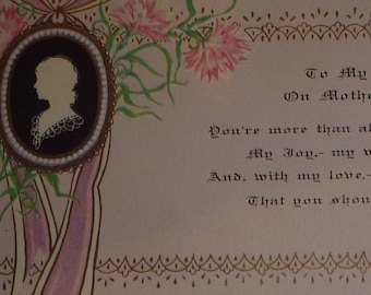 Vintage 1930s Art Deco Cameo and Flowers Mother's Day Card With Original Envelope