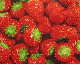 Towel 33x33cm - red strawberries