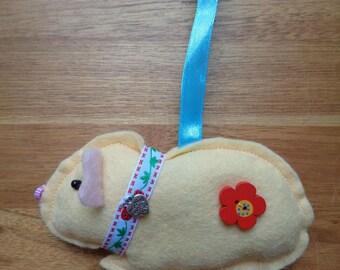 Hand made Cream felt Guinea Pig hanging decoration