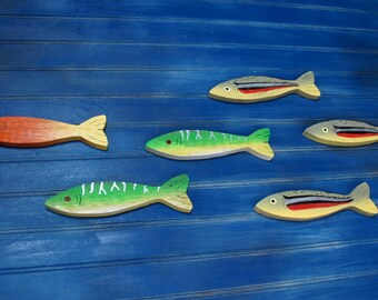 custom painted minnows, 6 wooden minnows, school of fish, sardine, bait, smelt, fishy, fish, beach, ocean, sea life, minnow