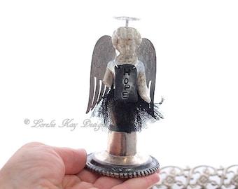 Angel Of Hope Frozen Charlotte Angel Sculpture Original Assemblage Art Doll Statue Lorelie Kay Original