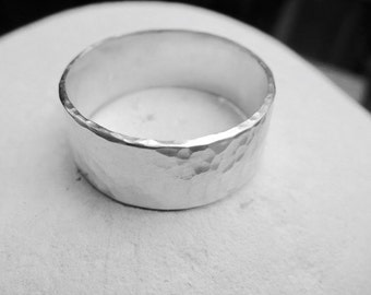 Sterling silver hammered ring, ball hammered flat band ring, Sterling silver wide band ring, hammered ring, made to order