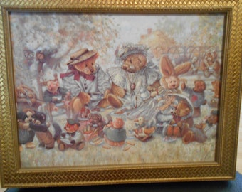STEWART SHERWOOD teddy bears and other   animals  garden TEA party framed
