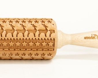 North land, Christmas Rolling Pin Engraved Rolling Pin, Rolling Pin, Embossed Cookies, Wooden Rolling pin