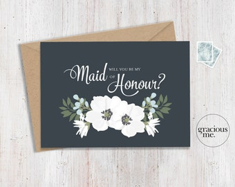 Maid of Honour Card 'Will You Be My Maid of Honour' - Wedding Card, Floral Card - Blue