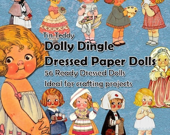 Dolly Dingle 56 Paper Dolls For Crafting - Digital Ready To Use Dollies, Printable Paper Doll, Mixed Media Collage