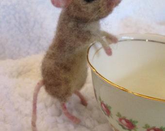 needle felt animal, Life sized mouse my first love  custom made for me by Hannah Stiles fully posable, finest needle felt work around