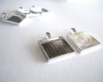 SALE 10 - 20mm Silver Tone Blank Bezel Pendant Trays