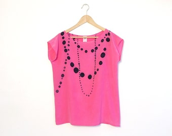 silk hand painted blouse.  INK BEADS on PINK.  made to order.