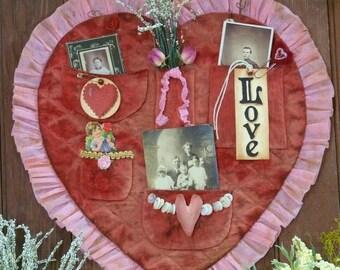 Vintage Valentine treasures Heart pocket PDF Pattern - primitive old photos tags grubby prim primitive