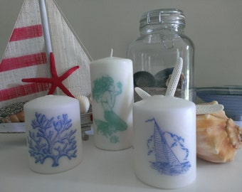 Nautical Decorative Candle Set-Mermaid, Sailboat, and Coral Stamped Pillar Candles