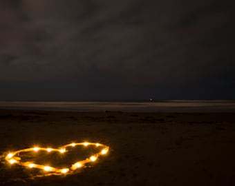 """Beach Print, Heart Photography, Candle Heart Photography, Love Print,Heart in the Sand,Romantic Wall Decor, -""""Follow My Heart to Shore"""""""
