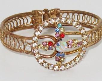 Czech Rhinestone  Vintage Clamper Bracelet