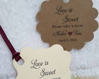 "Personalized Favor Tags 2""or 2x2"", Wedding tags, Thank You tags, Favor tags, Gift tags, Bridal Shower Favor Tags, love is sweet"