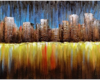 City in the Distance - Genuine Hand Painted Modern Abstract Oil Painting On Canvas