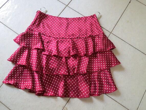 Gorgeous as new Alannah Hill Cherry red burgundy cream spot frill skirt size 10