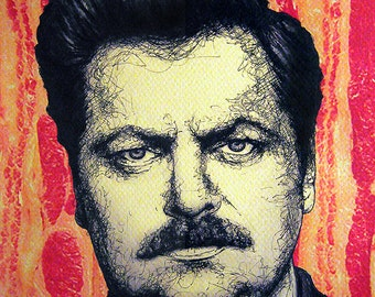"""Print 11x14"""" - Ron Swanson - Parks and Recreation Bacon Eggs Meat Steak Mustache Pop Art Food Nick Offerman Hipster Man Hunting Pig Eat"""