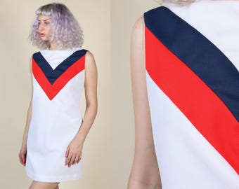 Vintage Mod Dress   70s Shift Minidress Red White and Blue Tank