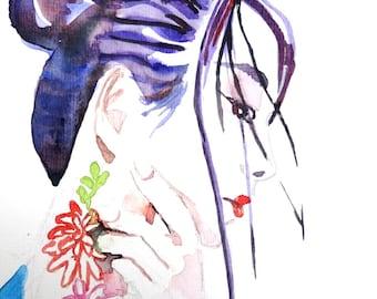 Vrouw met bloemtattoo. Handgeschilderde aquarel kaart.