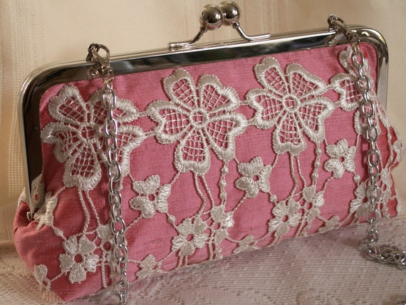 Hand made lace embellished silk handbag, clutch. White, pink. BLUSH by Lella Rae on Etsy