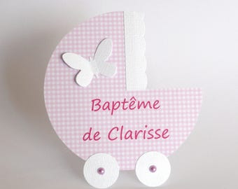 Fairt either baptism or baby carriage pink and white gingham-handmade fill