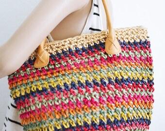 Woven straw purse,Rainbow, Weaved ,Purse,bag, Beach bag, Shoulder Bag,summer purse,pink,tan,purple