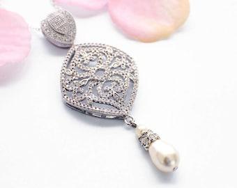 Bridal necklace vintage, cubic zirconia necklace, Art Deco wedding necklace, wedding jewelry vintage, pearl necklace, bridal jewelry pearl