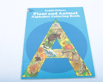 Plant and Animal Alphabet Coloring Book, Intricate Design, Adult Coloring, Vintage Book, ~ The Pink Room ~ SS003