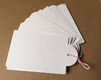 Die Cut, Hang Tags, White Blank Tags, Boutique Tag, Gift Tag, Retail Tag, 110 lb Card Stock CP-1003
