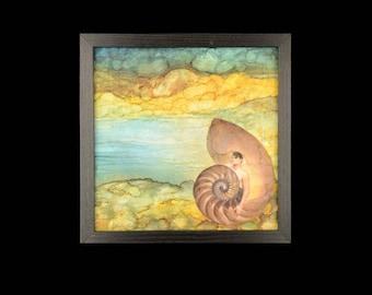 Merman, framed wall art, mystical seashore, magical creature, serendipity, nautilus, undersea people, fantasy landscape by foundturtle