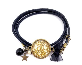 Black waxed cotton bracelet * Cabochon * glitter star beads organza bow