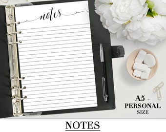 Printable NOTES insert for your Personal, A5, Happy Planner and Letter size planner_Notes Planner Pages Printable_Notebook Pages Filofax_pdf