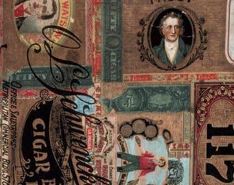Dapper by Tim Holtz for Coats - Full or Half Yard Cigar Box Labels Multi - Vintage Cigar Labels