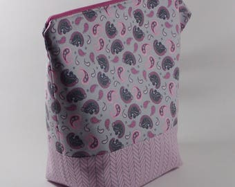Pink and Grey Paisley Knitting Project Bag - Tall Sock Project Bag - Zippered Project Bag - Crochet Project Bag - Tall Project Wedge Bag