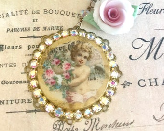 angel with wreath assemblage necklace with Swarovski crystals handmade porcelain rose and beads #1082-13