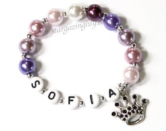 Purple Princess Party Favors Princess Sofia Sophia inspired Purple Pearl beads crown tiara charm Name Bracelet Party Favor princess party
