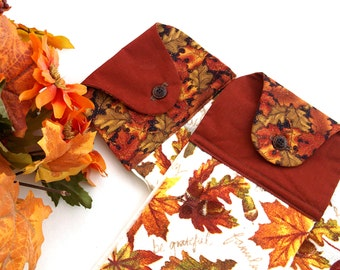 Pair of Hanging Dish Towels, Harvest Kitchen Towel Set, Autumn Leaves, Dish Cloths, Oven Hand Towels, Kitchen Decor, Gift Under 20