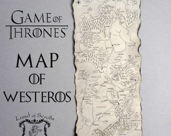 GAME of THRONES MAP Westeros Map Poster on Handmade Scroll GoT Map A Song of Ice and Fire Map Fantasy Map Seven Kingdoms Map Vintage Map
