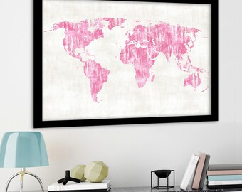 Dark blue aqua and purple watercolor world map poster print large pink world map map poster world map print baby girl nursery print framed world map canvas world map large pink wall art digital gumiabroncs Choice Image