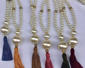 Long necklace with 10mm, 25mm pearls, silk borlon and handmade zamak parts