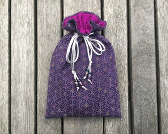 Sacred Geometry Tarot / Oracle Bag Lined with Magenta Dupion Silk
