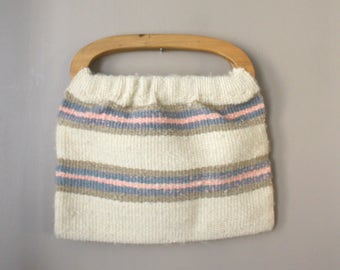 Vintage 1980s Purse...Woven Wood Handled Purse...Pink Blue and Brown Striped Cloth Bag...Wooden Handles...Medium Size Handbag