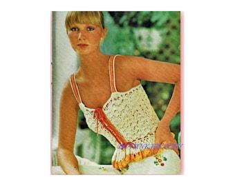 Camisole Crochet Pattern Beribboned Camisole Women's Vintage 1970's Digital Crochet Pattern